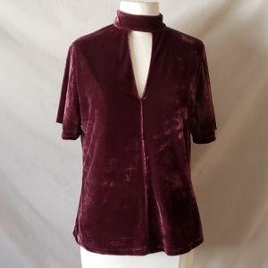 Tart Burgundy Velvet Choker Lined Shirt